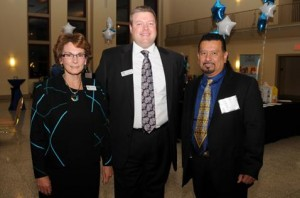 OneWorld CEO Andrea Skolkin with Andrew Kloeckner, Board Chair and Richard Montanez, Keynote speaker