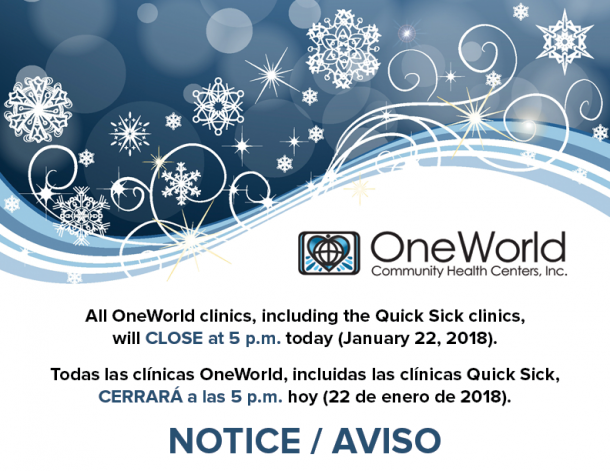 OneWorld weather closing 1/22/18
